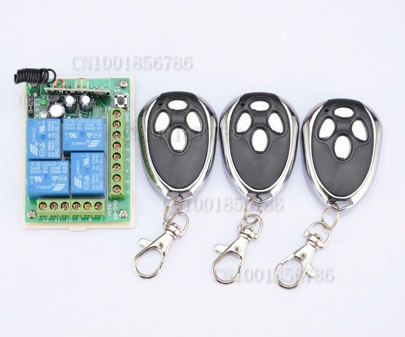 4 relé ch wireless receiver & transmitter dc12v momentary alternar travado rf switch controle remoto sistema de led smd on off