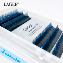 LAGEE 3 cases Ombre Blue Color Handmade Synthetic Mink Eyelash Extension Individual Faux Lash Soft Asept False Lashes