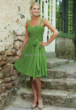 2014 Summer New Backless Green Chiffon Tea Length Cheap Bridesmaid Dresses