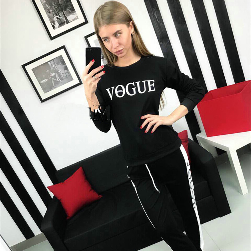 Print Letter Vogue Hot Suit Set 2019 Women Tracksuit Two-piece Sport Style Outfit Jogging Sweatshirt Fitness Lounge Sportwear