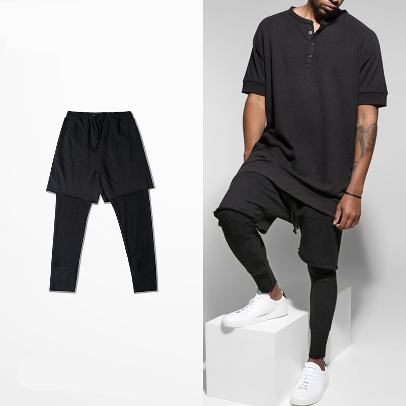 New brand men Slim Joggers Pants fashion retro high street man Solid hip-hop kanye style male cotton streetwear casual Trousers