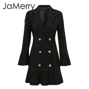 Image 5 - JaMerry VINTAGE ruffled คู่ผู้หญิงสำนักงานเลดี้ Casual Blazer สีดำฤดูใบไม้ร่วงฤดูหนาว Slim ทำงานชุด