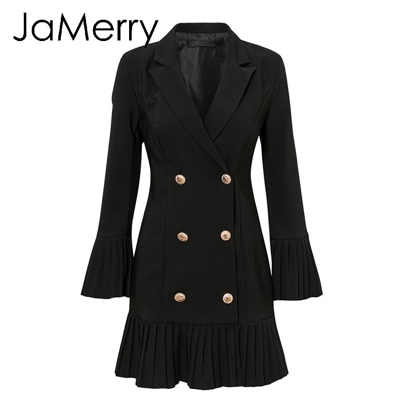 Image 5 - JaMerry Vintage ruffled double breasted women dress Office lady  casual blazer black dress Autumn winter slim work wear dressesDresses