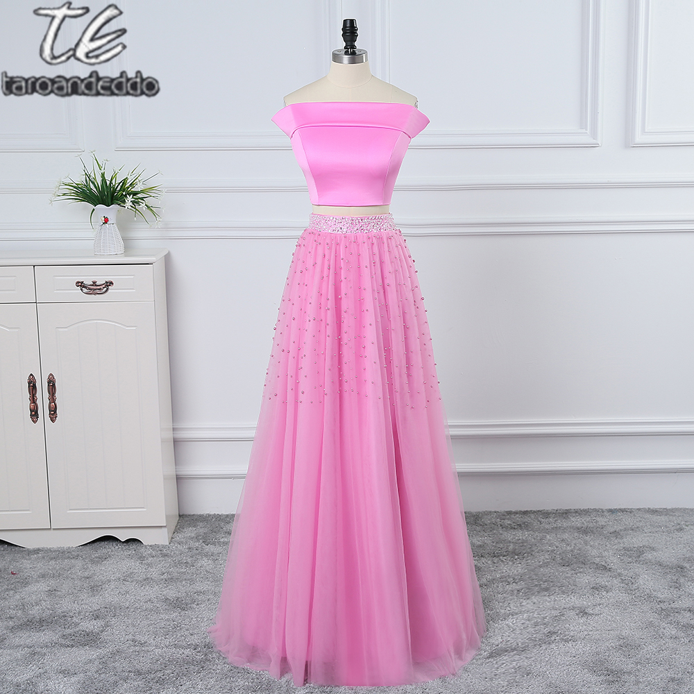 f4b4b62cad Boat Neckline Off the Shoulder A-line Floor Length Pearls Beading Two  Pieces Prom Dress Pink Sexy Stretchy Formal Evening Dress