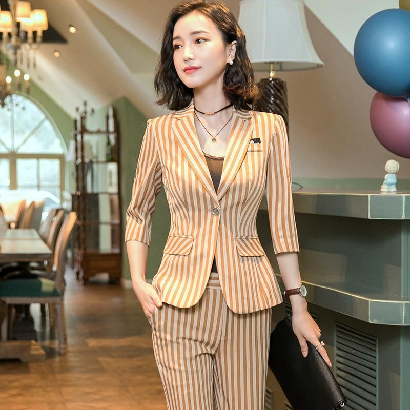 IZICFLY Spring Summer Khaki Striped Suits For Women Pants And Blazer Slim Business Completo Donna Elegante Office Wear Big Size