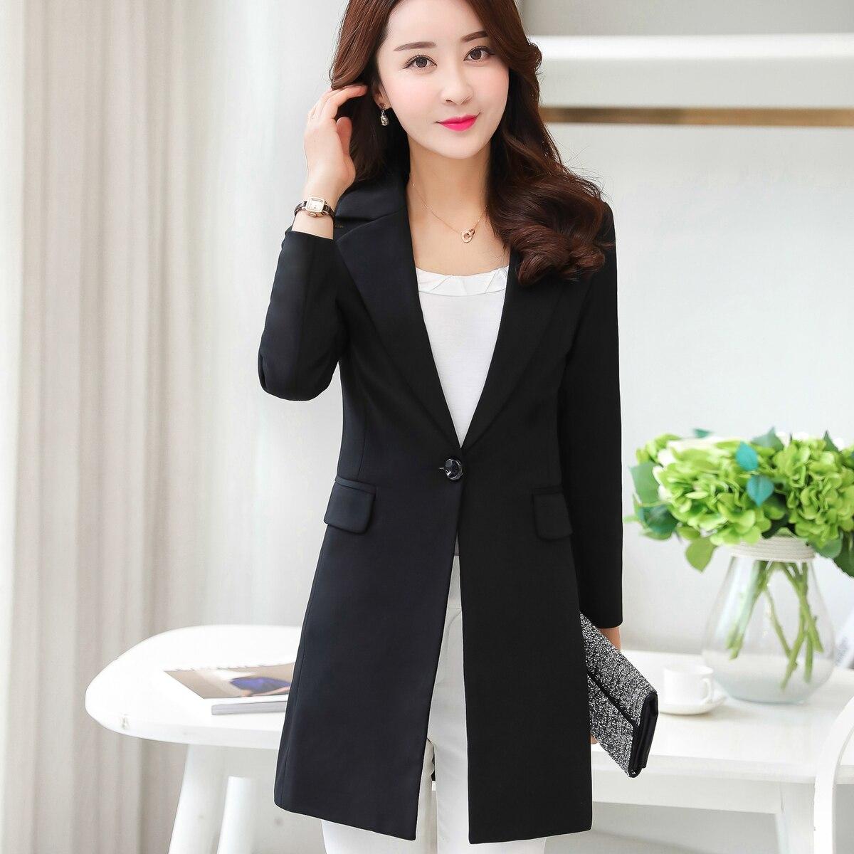 White Black Women Blazers And Jackets 2017 Spring Autumn Fashion Single Button Blazer Femenino Ladies Blazer Female Plus Size