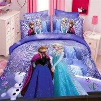 Disney Congelado Elsa Anna luxo 3D a impressão de cama, gêmeo de tamanho único, capa de edredão caso pillow folha de cama, roupa de cama, Frete grátis.