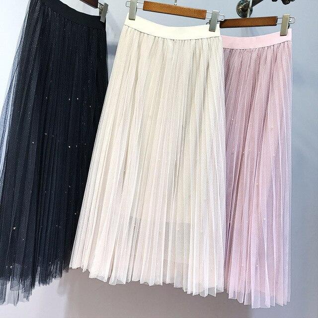 Women girls skirts 2018 spring new elastic waist beaded three-color mesh pleated Womens skirt