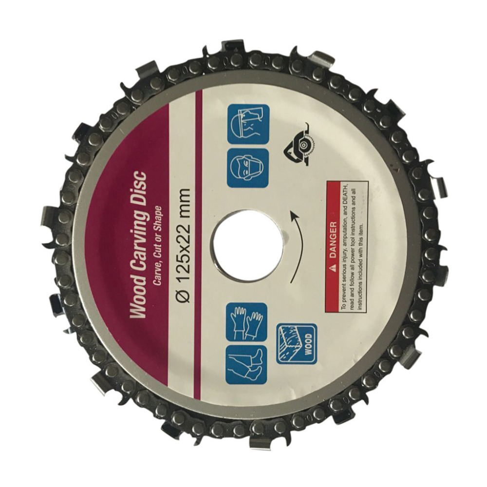 New Wood Carving Disk 5 In Grinder Disc Chain Woodworking Saw Blade Cutting Blade Wood Slotted Saw Blade For 125mm Angle Grinder