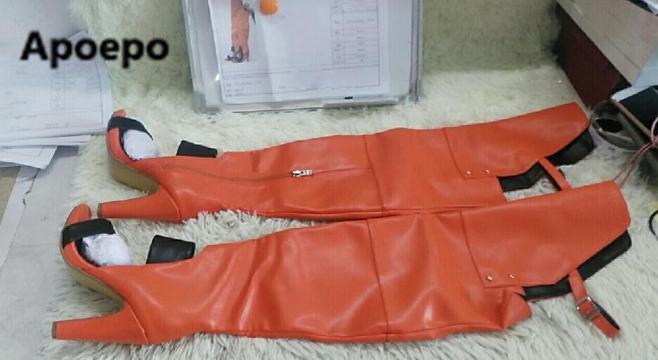 Éclair Boucle Vraie Image Genou Fermeture Dames Talons Sur Rome Jaune Boot Haute Femmes Chaussures Bottes Longue Style Sexy D'été Le Ov0mN8wn