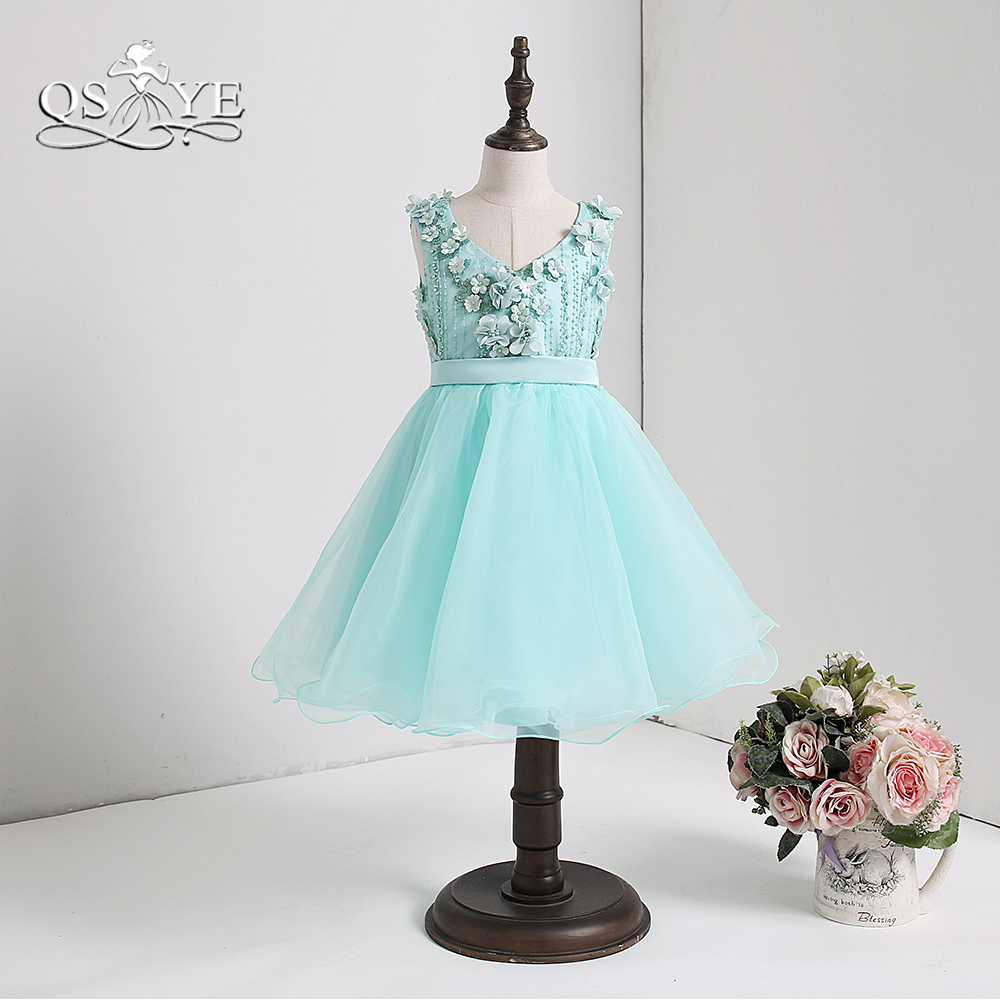 QSYYE 2018 Tiffany Blue Cute   Flower     Girl     Dresses   3D Floral   Flowers   V Neck Keen Length Tulle   Girls   Prom Party Gown for Weddings