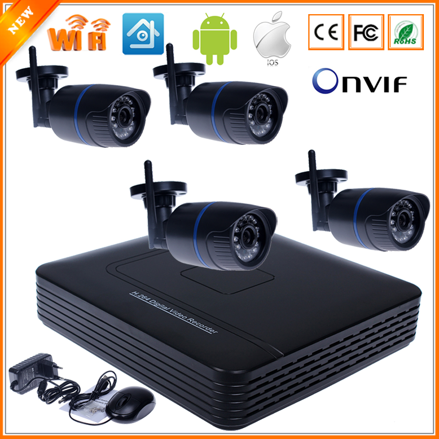 bilder für Wifi IP kamera System Kit 8CH nvr drahtlose Kamera Standalone-System 8CH NVR 4 Wireless/verdrahtete IP-Kamera 720 P Überwachungskamera Kit
