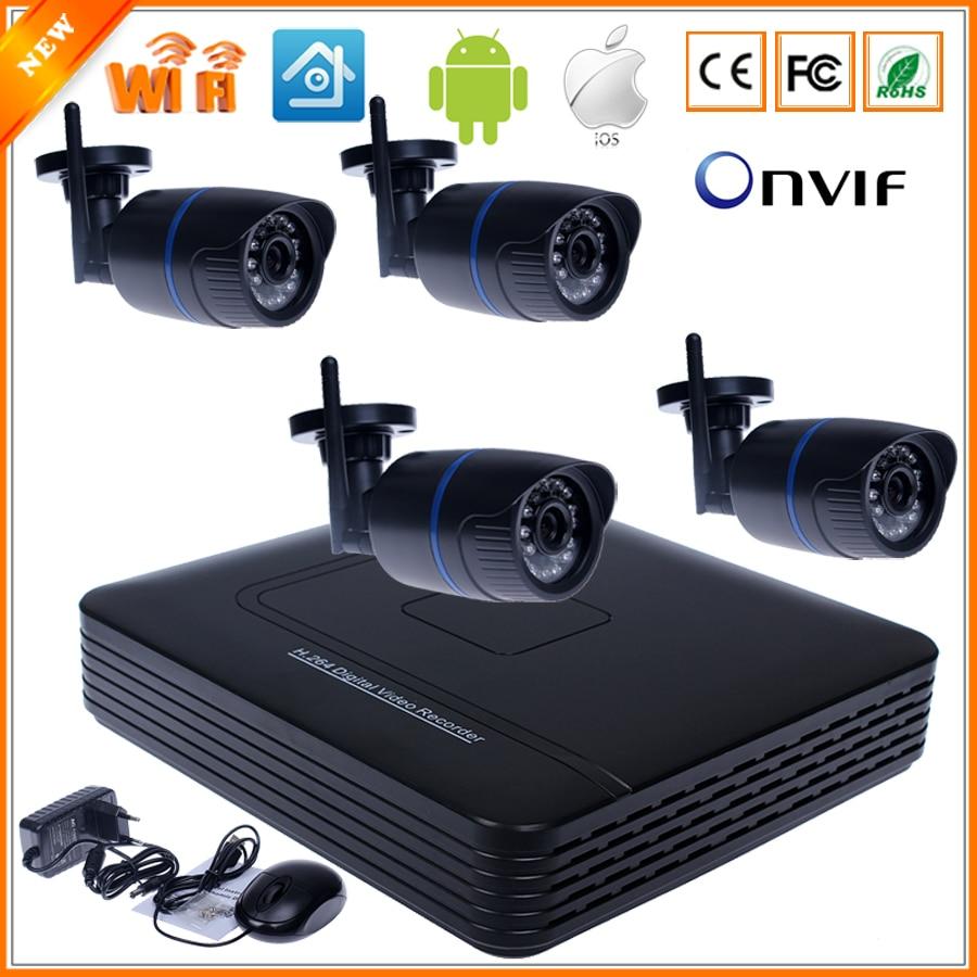 imágenes para Wifi cámara IP Kit sistema 8CH NVR cámara sistema independiente de 8CH NVR 4 inalámbrica / con cable IP cámara 720 P Kit de cámara de seguridad