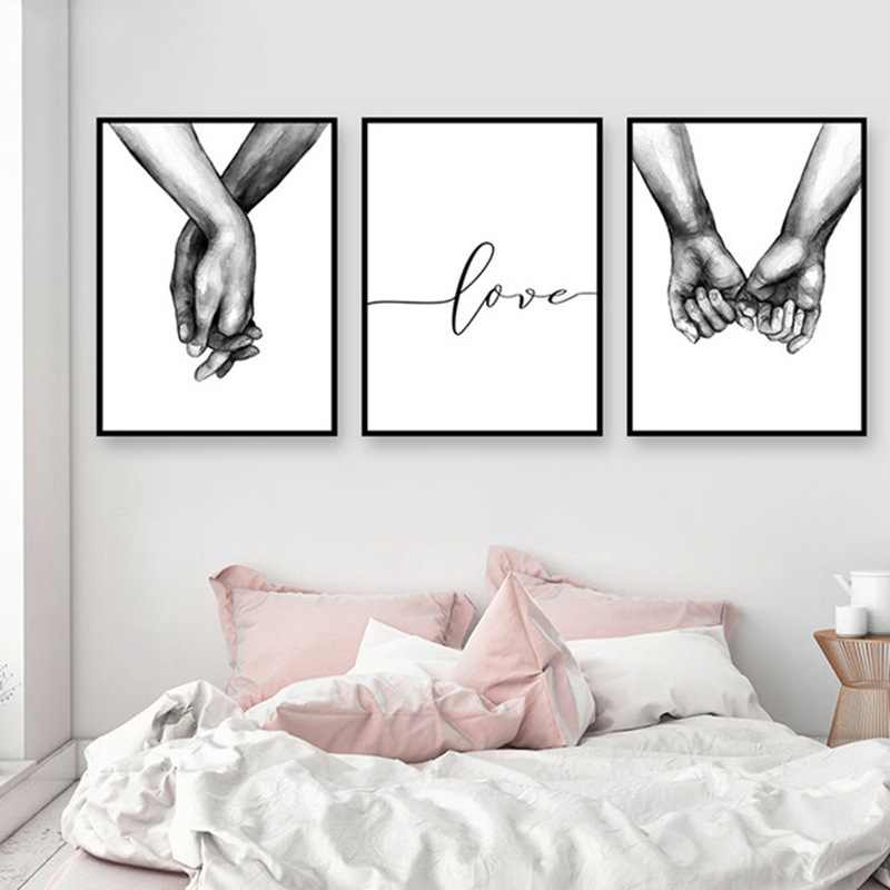 Poster Canvas Wall Art 1PC Decorative Painting Frameless Black And White Nordic Lover For Living Room Holding Hands