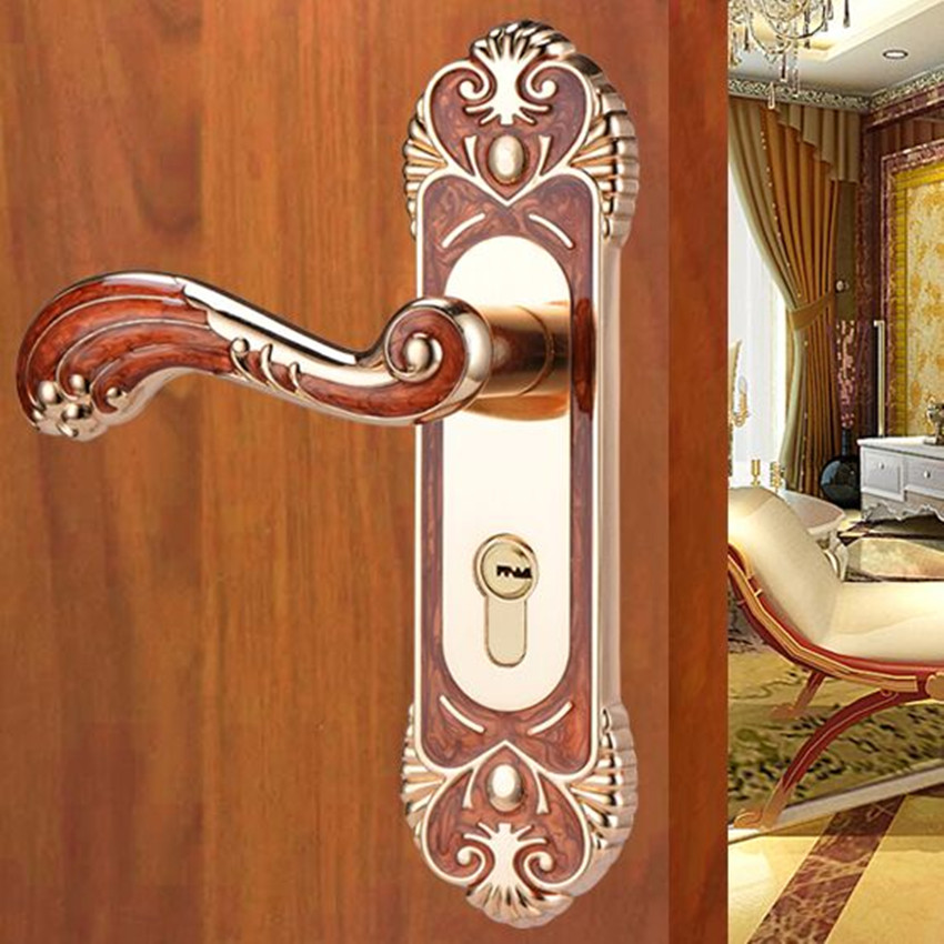 Modern simple Fashion Interior lock wooden door lock , europen style amber red bed room kitchen study Mute door locks european fashion ivory white bedroon door handles antique bronze mute wooden door lock gold indoor locks modern simple