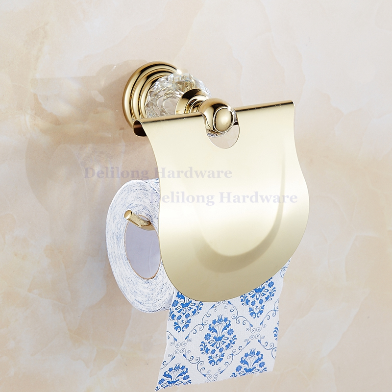 crystal bathroom accessories sets%0A Brass Golden Color Crystal Towel Holder Wall Mount Tower Rack Paper Box  Toilet Brush Set Bathroom Hardware Accessoriesin Sanitary Ware Suite from  Home