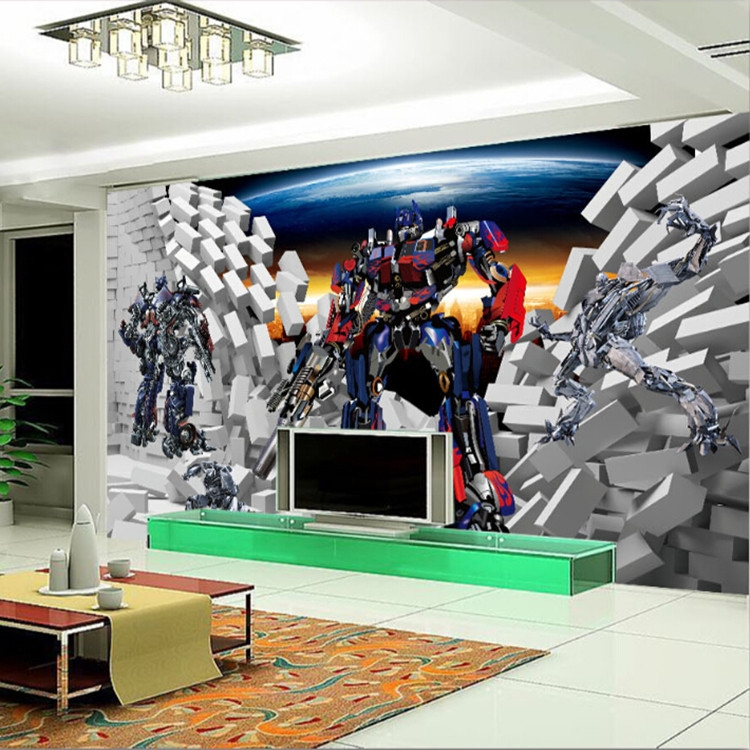 3d Wallpaper For Bedroom Walls Free Shipping 3d Transformers Large Murals Of Children