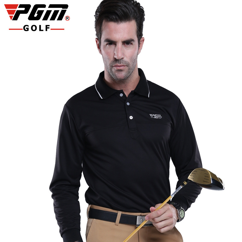 PGM Golf Shirts For Men Cotton Breathable Sportwear Long Sleeve Sports T Shirt Golf Clothing Quick Dry Outdoor Men Polo T-Shirt