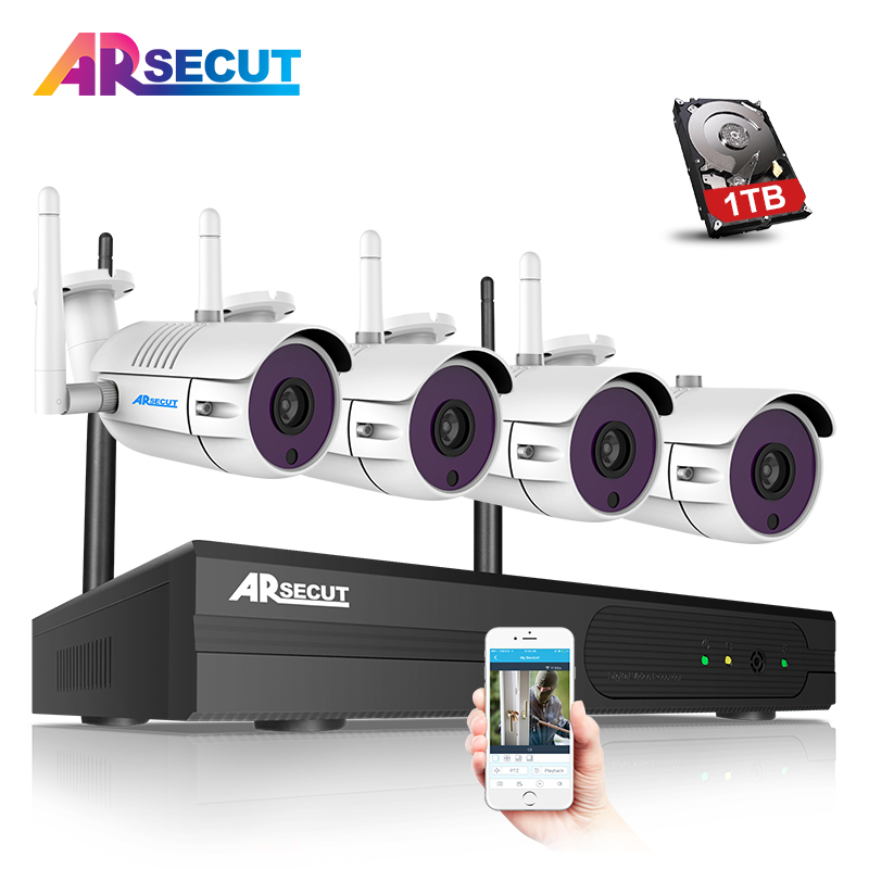 1.3MP 960P HD 4CH CCTV Wireless System NVR Kit Outdoor IR Night Vision H.264 Security IP Camera WIFI Surveillance Video 1TB HDD 1tb hdd cctv system 4ch h 264 wireless nvr security video recorder p2p 1 3mp outdoor ir wifi ip camera 960p surveillance camera