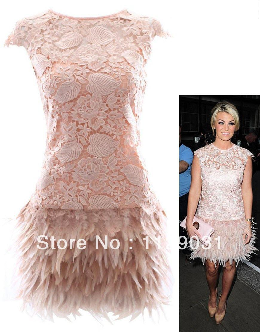 Online Buy Wholesale pink feather cocktail dress from China pink ...