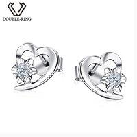 DOUBLE RING Heart Earring 0 09ct Diamond 18K White Gold Earrings For Women 2016 Fine Jewelry