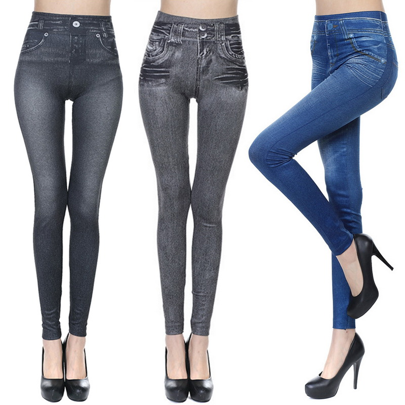 S-5XL Slim Leggings Women Mom Imitation Jeans High Waist  Elastic Spring Female Stretch Pencil Pants Skinny Trousers Plus Size