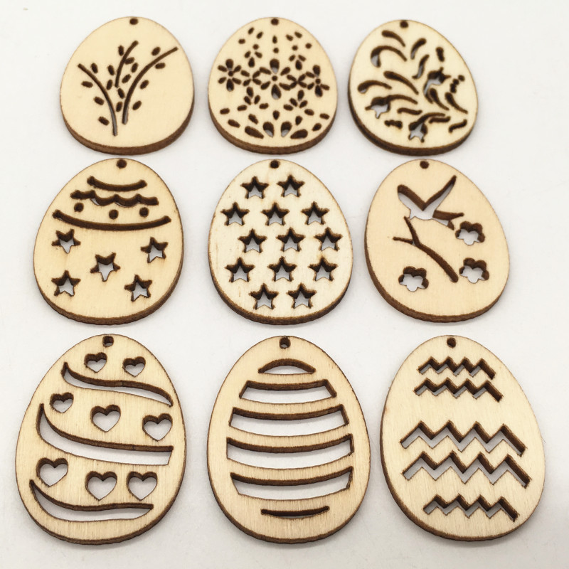 50pcs Happy Easter Eggs Wooden Craft Educational Toys For Children DIY Mini Wood Chips Pendant Kids Party Decoration Gift