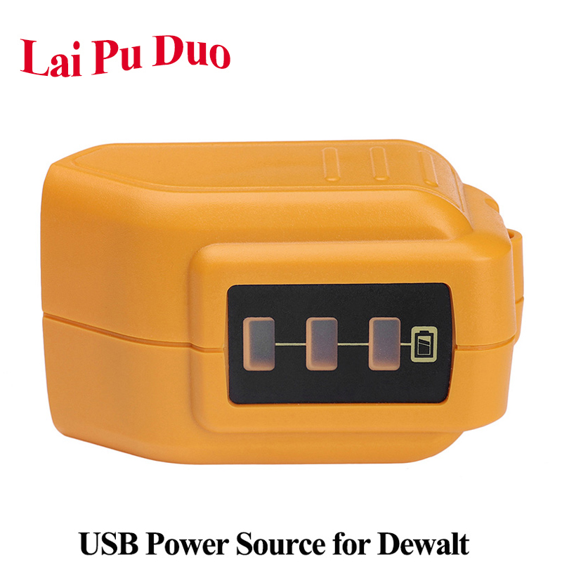 For DEWALT 14.4V 18V/20V Max USB Power Source <font><b>DCB090</b></font> Li-ion Battery Charging Adapter For iPhone Bluetooth Speaker Power Supply image