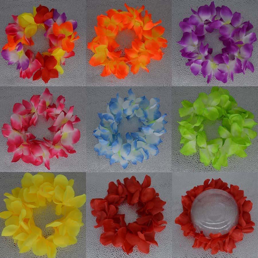 50pcslot Hawaiian Leis Hula Flower Luau Garland Lei Flower Headband