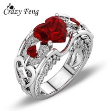 Women's Wedding Engagement Rings Silver Color Carved Leaf Jewelry Trendy Blue Rubby Red Heart Love Zirconia Rings Bijoux