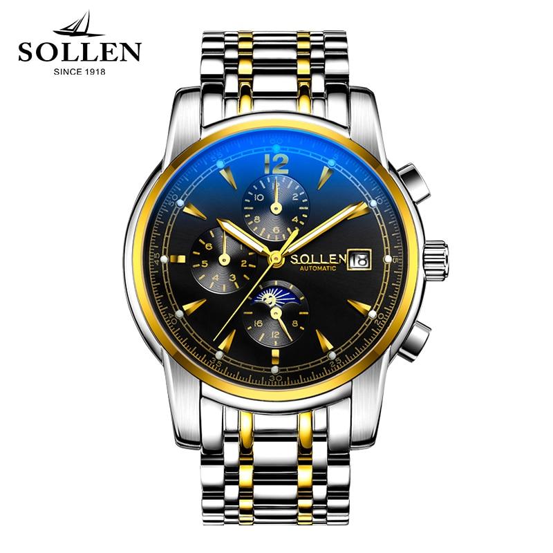 SOLLEN watches automatic mechanical watches sapphire steel watch men clock waterproof multi - functional men wristwatches цена и фото
