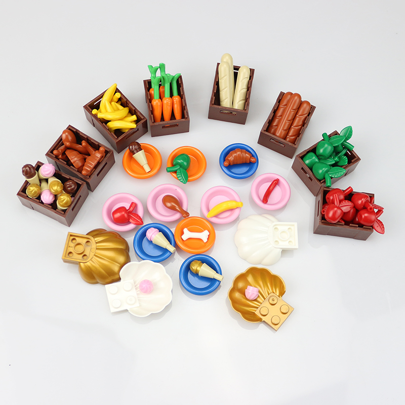 City Block Garden Series Food Stuff Pack Fruit Bread DIY Enlighten Building Block Assemb ...