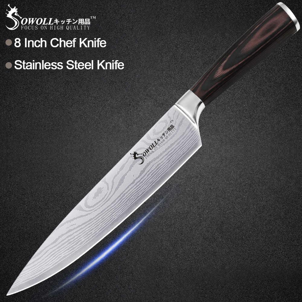 Sowoll кухонный нож из нержавеющей стали 8 'ƍ'' 5 'Ɖ 5'' дамасский узор