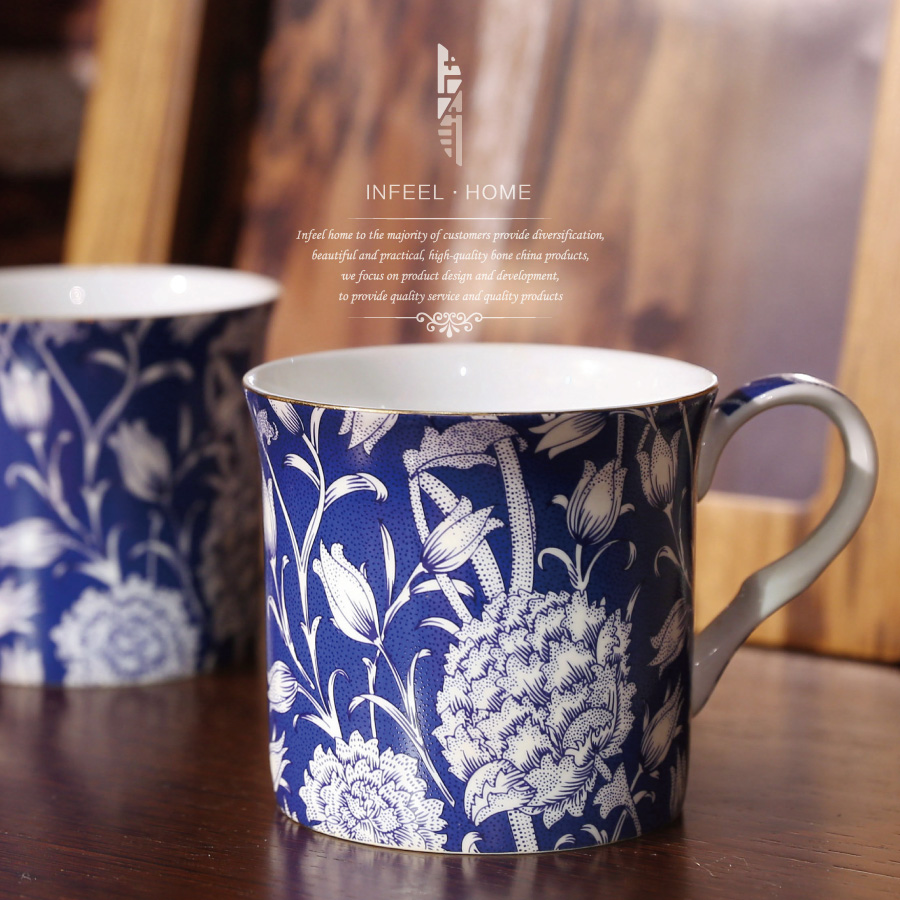 패션 뼈 중국 컵 파란색과 흰색 커피 찻잔 컵과 접시 차 찻잔 애호가 선물 세라믹 컵