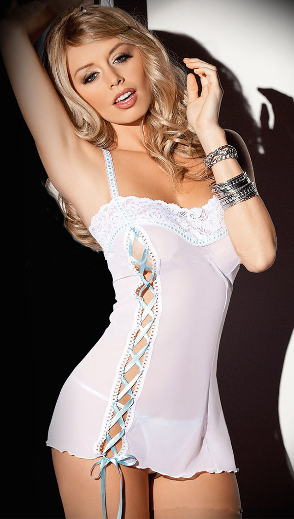 Bandage Sexy Babydoll Women Sexy Lingerie White Lace Lingerie Bow Erotic Lingerie Sexy Costumes Lenceria Sexy