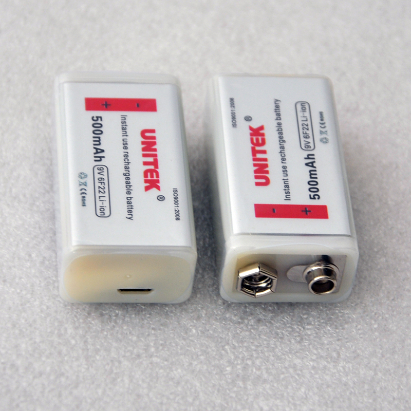 1-6 USB 9V lithium ion rechargeable battery 500mAh 6F22 Prismatic cell for wireless microphone Guitar EQ smoke alarm multimeter