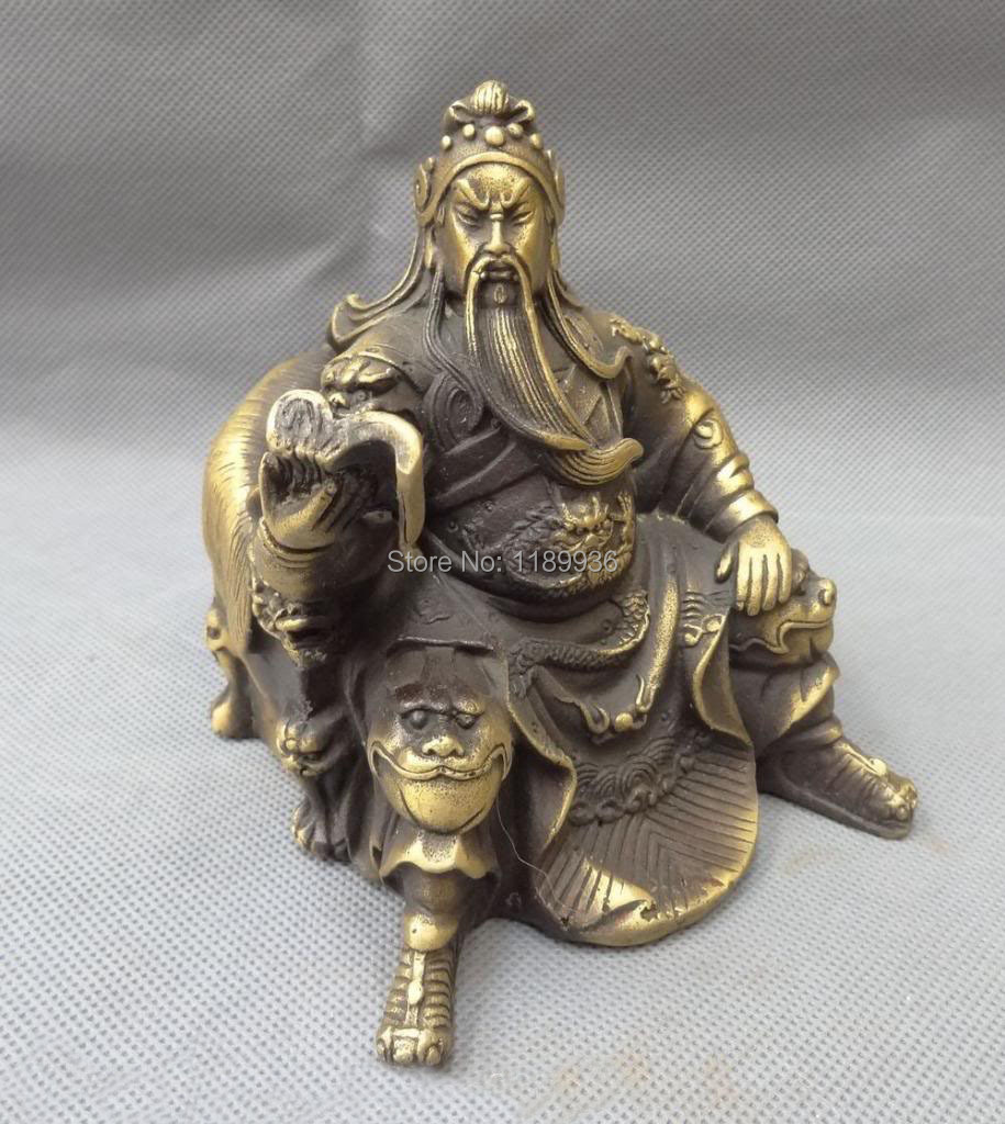 US $95 88 49% OFF|China Bronze Dynasty Dragon Head Warrior Sit GuanGong  Guan Yu Read Look Statue-in Statues & Sculptures from Home & Garden on