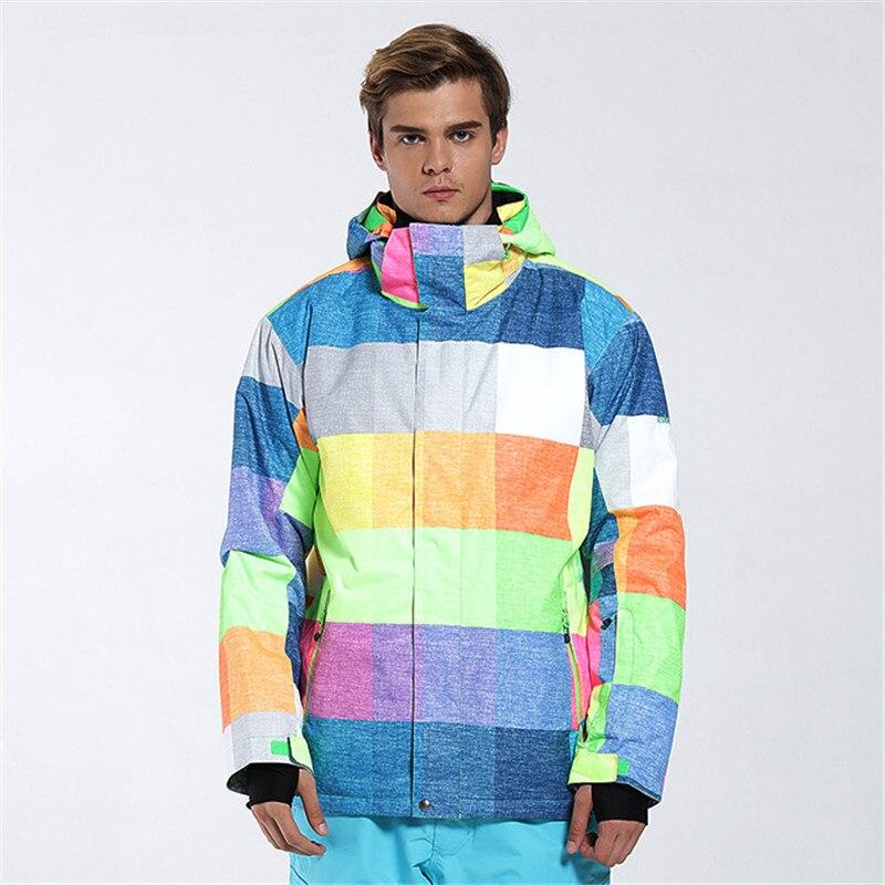 New Men's Korean Style Outdoor Waterproof Printing Plate Double Ski Suit Outdoor Ski Suit Long Warm And Windproof Ski Jacket