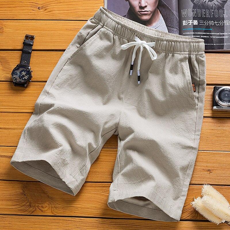 2019 модная летняя Шорты для мужчин однотонной льняной ткани Шорты мужские летние свободные дышащие повседневные шорты пляжные шорты большие размеры 5XL