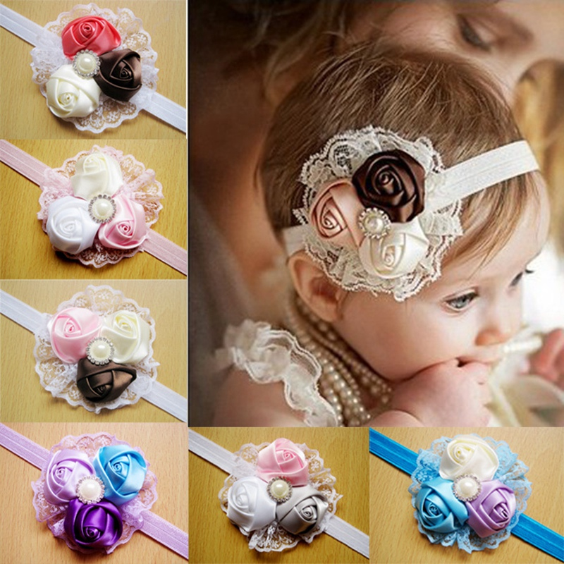 Baby Girl Headbands Wear Flower Accessories Newborn Lace Hair Bands Girl Felt Flower Scarf Hair Baby Headband Party Headband