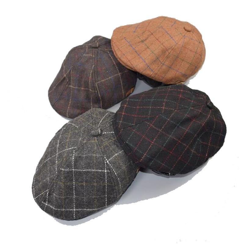 2017 új gyerekek fiúk kalapok őszi téli stílus divat kockás beret kalap Boinas lapos sapkák gyerekeknek