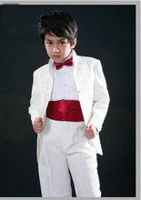 Custom long style white Tailcoat Kid Notch Collar Children tuxedo Wedding Suit Boys Attire(Jacket+Pants+Tie+Waistcoat) G888(China)