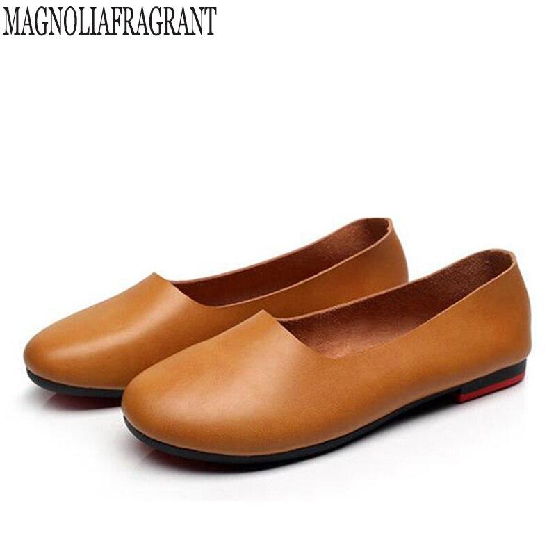 Handmade genuine leather ballet flat shoes women