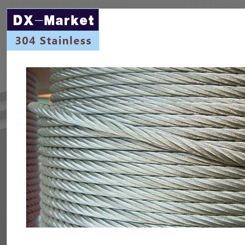 5mm wire rope , 10meter/lot , 7*7 , 304 stainless steel wire rope Anti rust line stainless steel rope loading weight 40kg 5mm thickness wire xr35 safety cables with looped ends for securing stage lighting