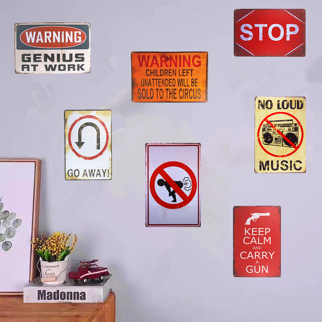 Retro Metal Tin Signs Warning Poster Stop Garage Bedroom Pub Home Decor  Craft Wall Stickers Decor