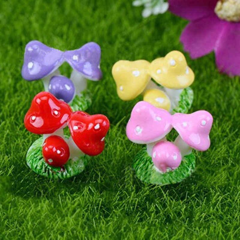 4 Cores Vermelho Mini Cogumelo Ofícios da Resina de Fadas Decoração Terrário Decoração Figuras DIY Dollhous Miniaturas Jardim Ornamento Do Jardim