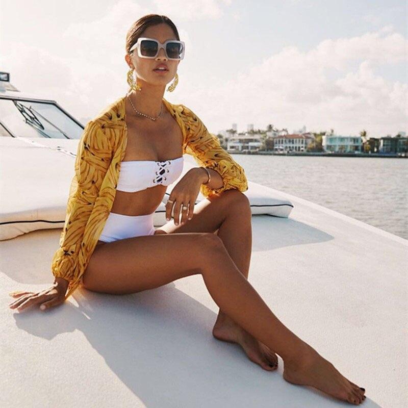 Nuovi Europei e Americani hot esplosioni speciale tessuto sexy regolabile Bianco bikini Costumi Da Bagno A Vita Alta costume da bagno Spalla Off