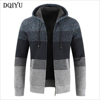da11c6e556a06 Новый кардиган свитер Для мужчин осень с капюшоном Для мужчин Трикотаж  лоскутное Цвет шерстяной свитер мужской высокое качество