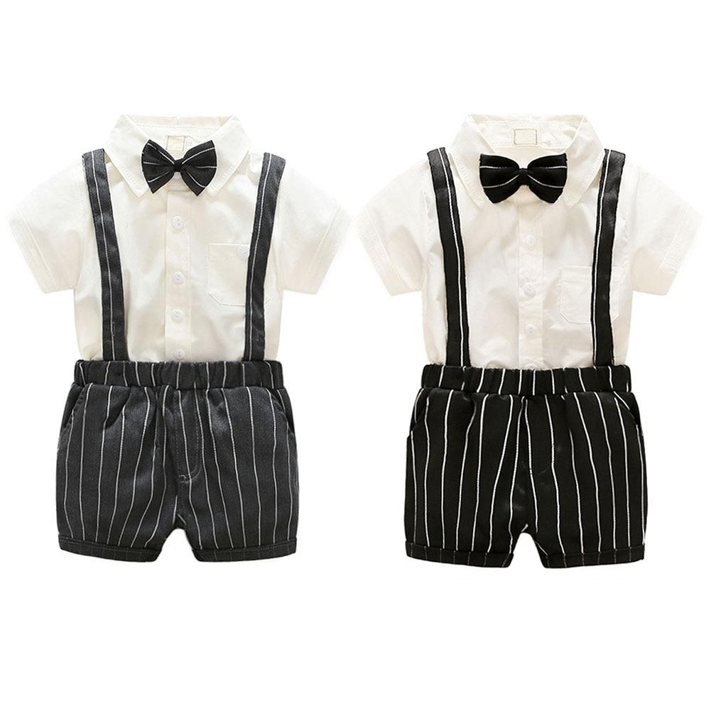 Summer 2pcs Toddler Baby Kids Clothes Set Infant Boys Gentleman Outfits Bow Tie Short-sleeved Shirt + Suspender Shorts Set