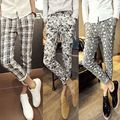 summer style male elastic comfortable breathable fabric casual pants mens slim pants plaid trousers flower skinny pants clothes